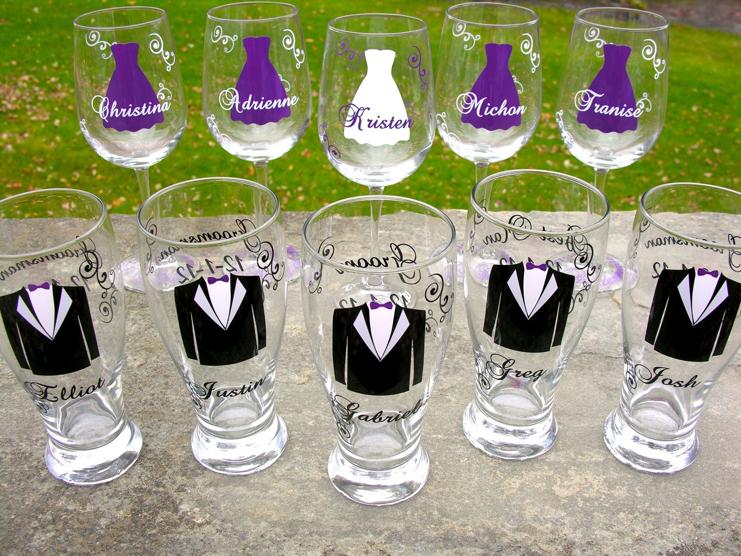 Wedding Gifts For Bridesmaids And Groomsmen : Wedding party glasses wine glasses and beer by WaterfallDesigns