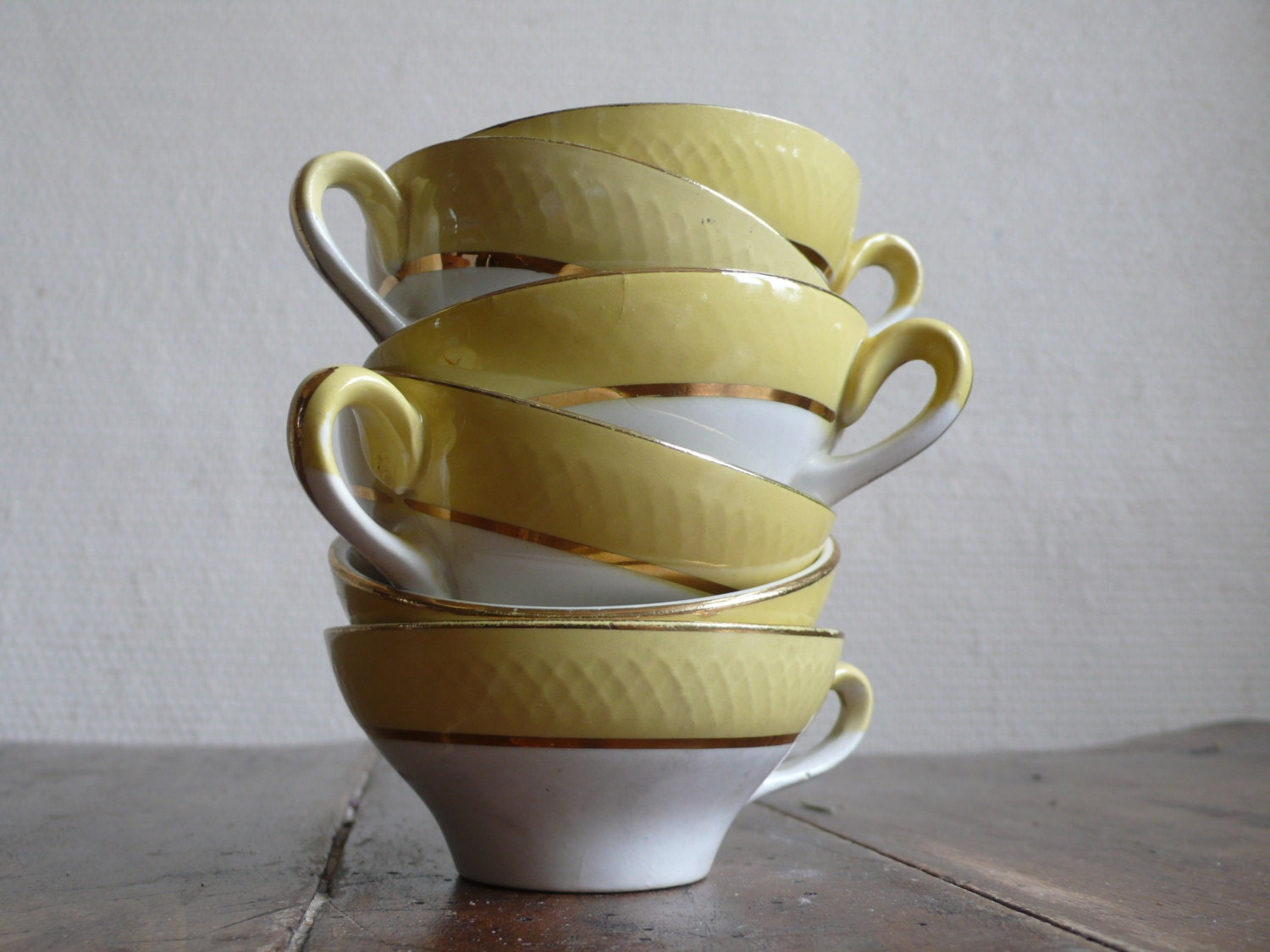 french vintage cups, espresso, yellow and white, gold,  tea, hot chocolate, antique,  French vintage housewares by ancienesthetique on etsy - ancienesthetique