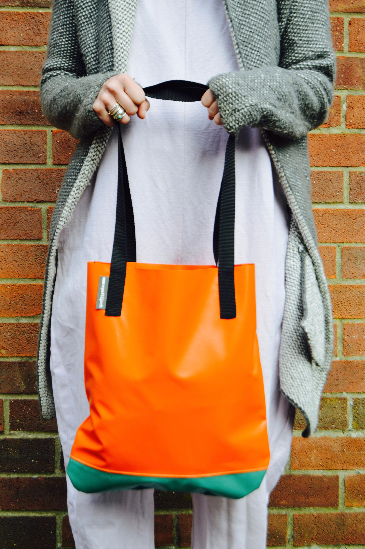 Handmade in UK Orange  Turquoise Two Tone Upcycled Bouncy Castle Vinyl PVC Eco Friendly Tote Shopper Bag