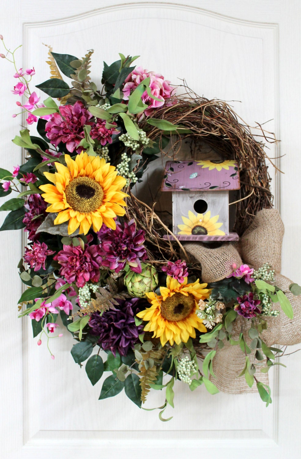 Items similar to colorful spring summer front door wreath for Colorful summer wreaths