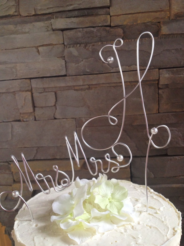 Hand wired monogrammed cake topper