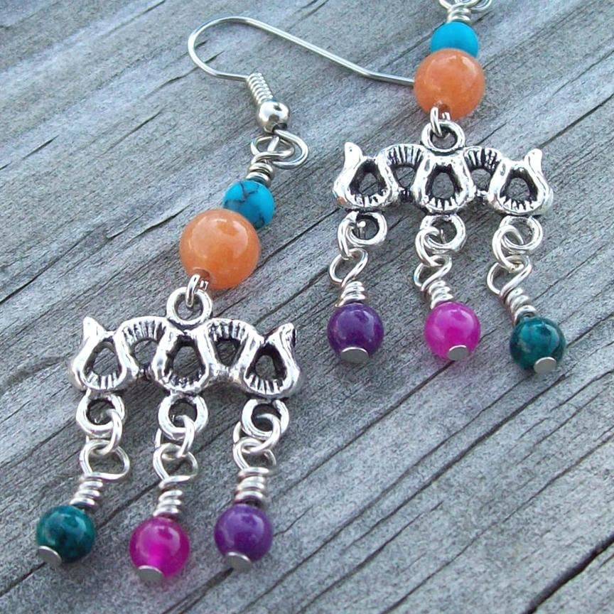 Clearance & Free Shipping - Dangle Gypsy Chandelier Earrings Festival Beaded in Colorful Gemstones