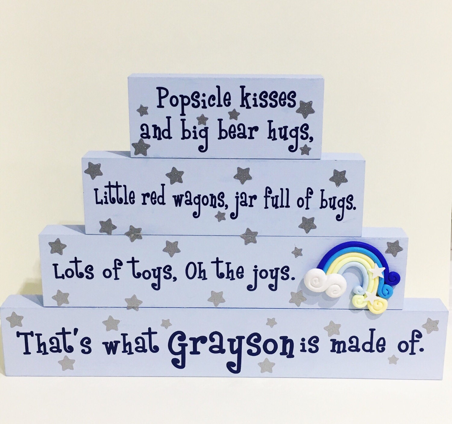 Baby boy stacked plaque quote  baby room  gift for him  christening gift