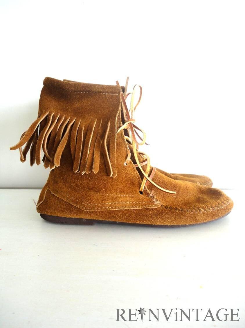 vintage fringe suede brown ankle boots by shopreinvintage