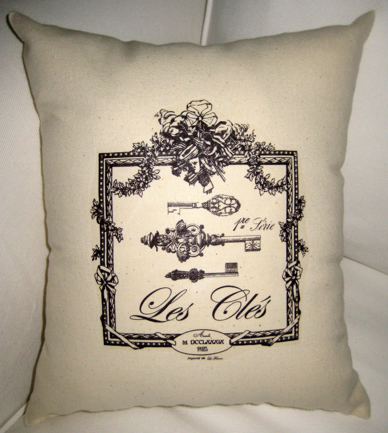 French Keys Pillow Paris Inspired Shabby By