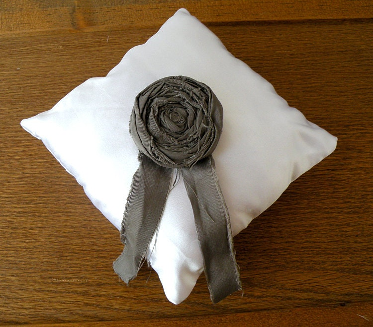 White satin wedding ring pillow with dove grey rosette From nisseworks