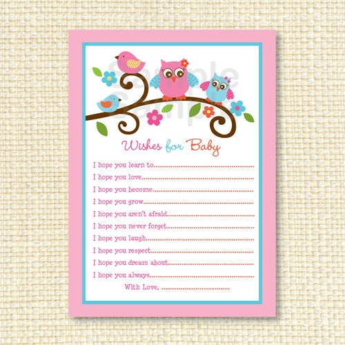Owl Wishes For Baby Advice Card Instant Download By Little