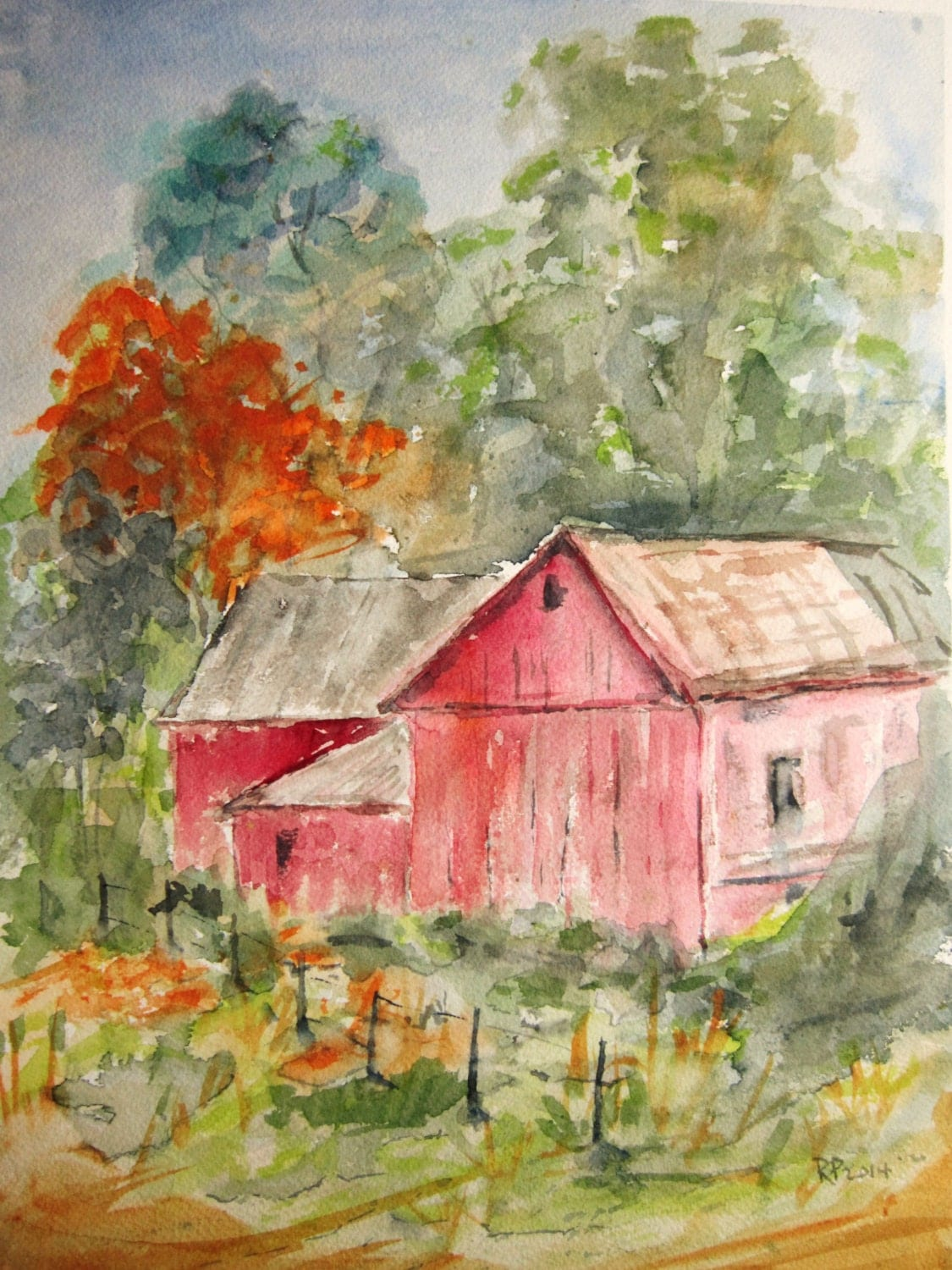 Red Barn Print Of Original Watercolor Painting Double By