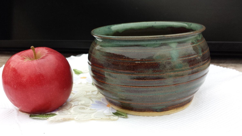 Bowl - Planter - Flower Pot - Salad / Chip / Soup Bowl - Serving Dish - Brown, Blue, Green - Versatile - Stoneware - Food/Nuke/Oven/DW Safe