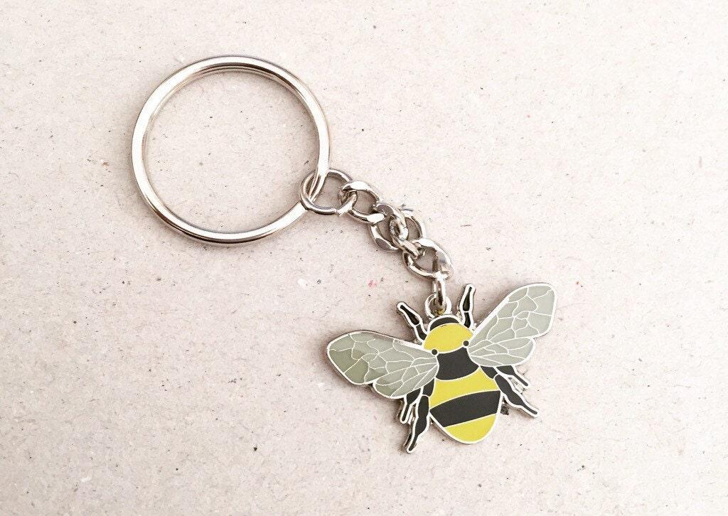 Manchester Bee Beekeeper Keyring Keychain Keytag in Black  Yellow Enamel