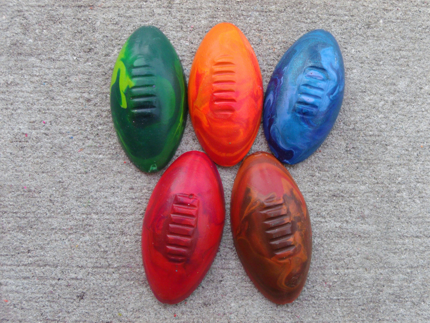 Football Shaped Recycled Crayons Party Pack of 10 - TheCrayonTrain