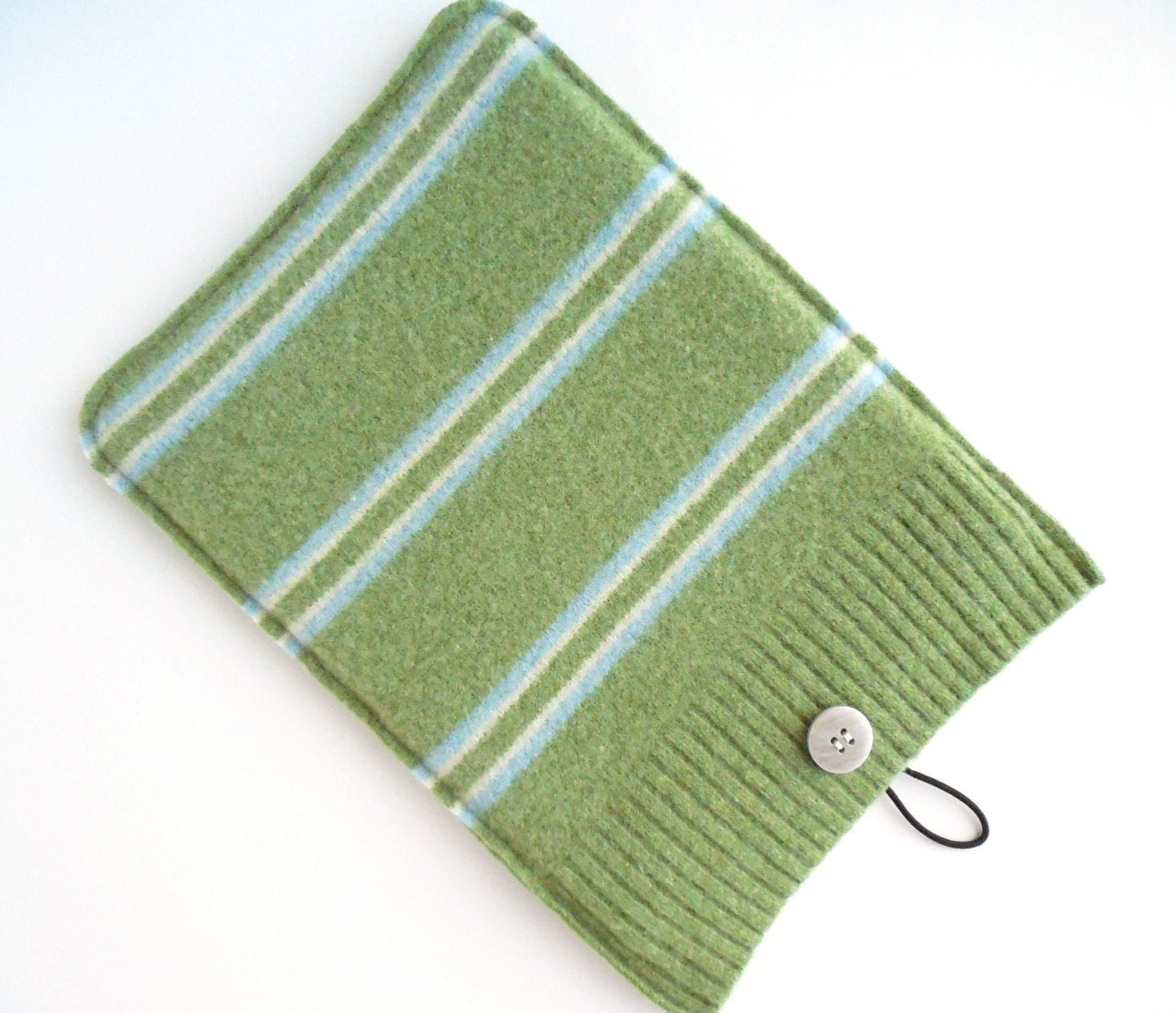 iPad Air Sleeve, Sage Green with Blue and Cream Stripes Felted Wool, Upcycled, Kindle HD & HDX, Nook HD, Tablet Wool Cover Case - TrendyEarth