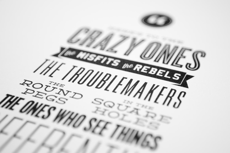 Steve Jobs Apple Quote, The Crazy Ones... Letterpress Style Typography Print, Home Wall Art Decor, Retro Vintage Art Mini Print - brettadamwilson