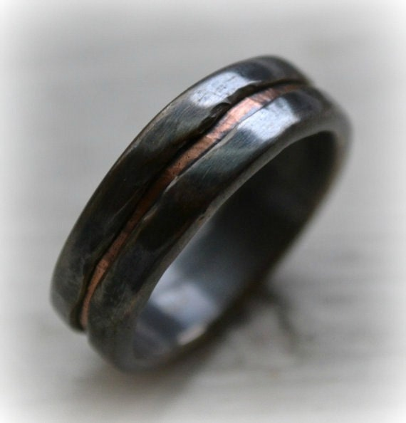 Mens Copper Wedding Rings Mens Wedding Band Rustic Fine Silver And Copper By