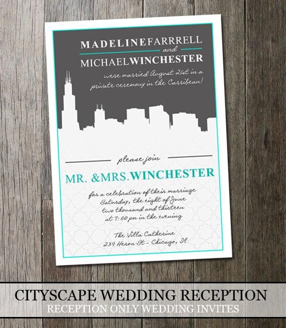 Wedding Reception Invitation Modern Cityscape By OddLotEmporium