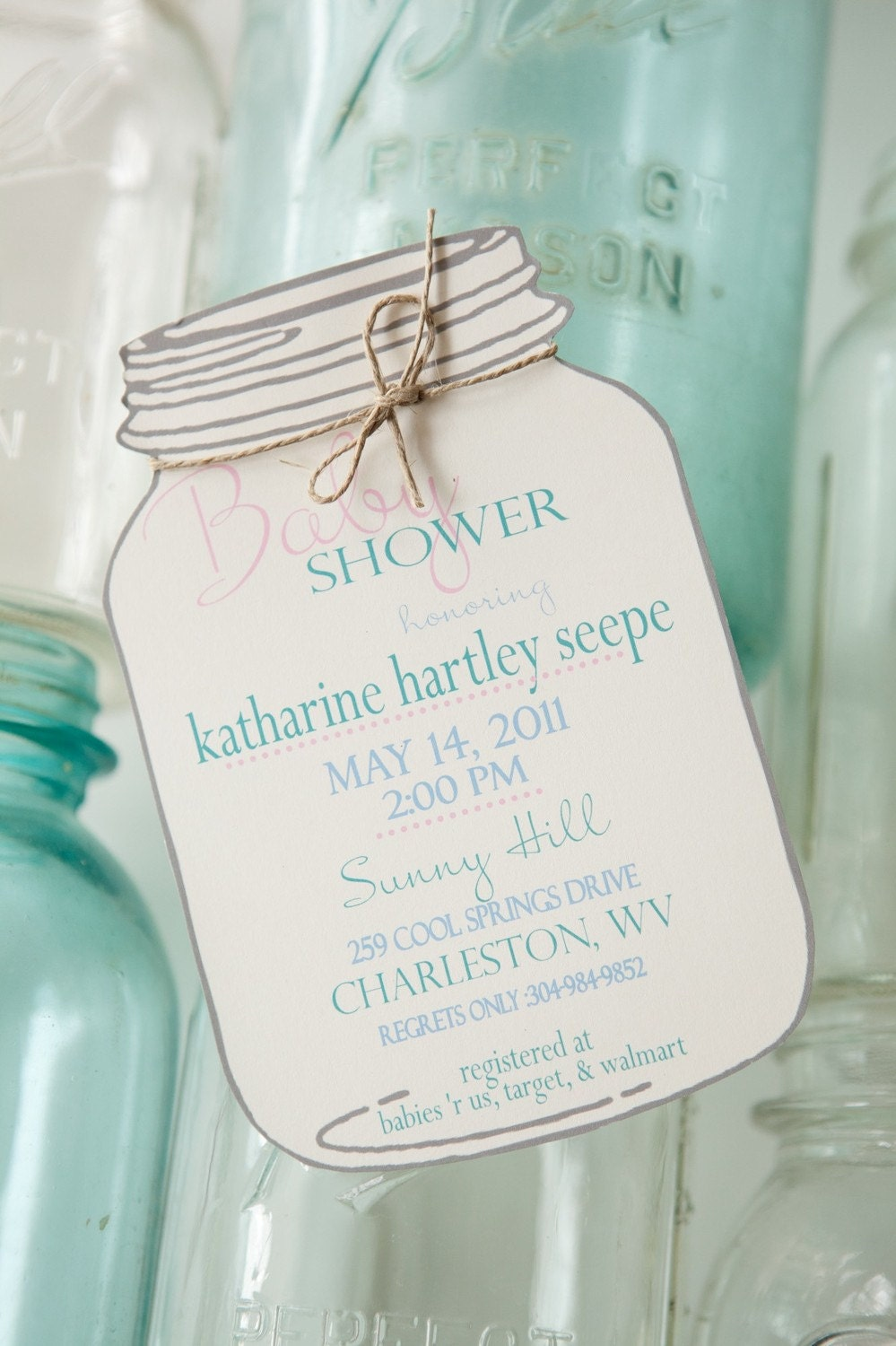 mason jar invitations by blueenvelope on etsy