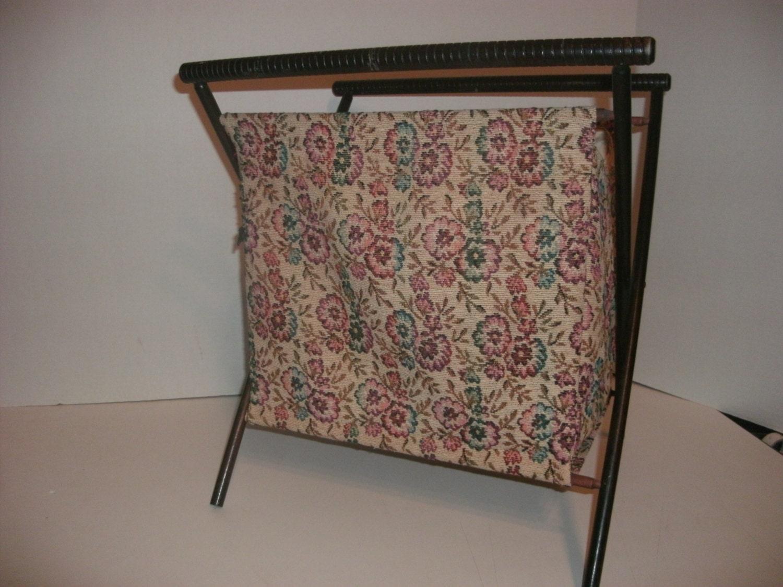 Vintage Folding Knitting Basket : Vintage folding knitting basket sewing bag wood by