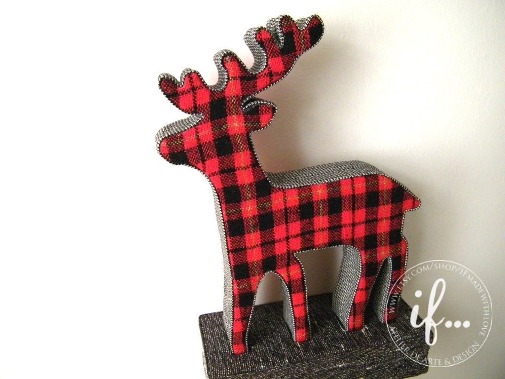 Red Plaid Reindeer decorative piece by If... made with love