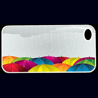 Colorful Umbrellas Custom iPhone 4 or 4s Case - unique iphone 4 case - hhprint