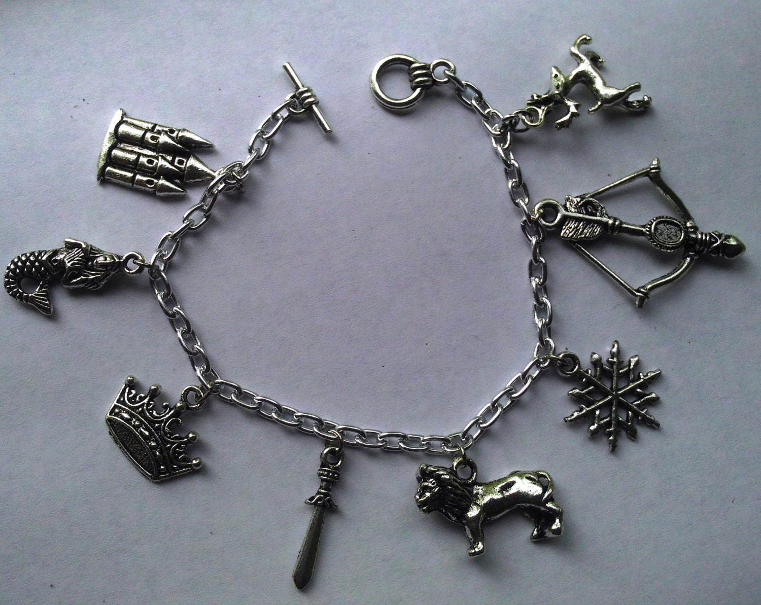 Narnia: The Lion, The Witch, and The Wardrobe inspired silver charm bracelet