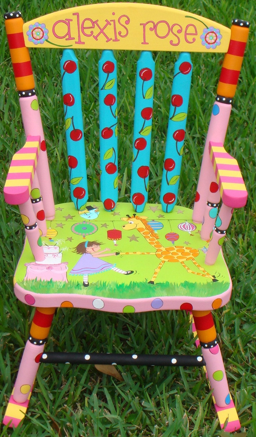 Painted Rocking Chair for Children Hand Painted Rocker Boys or Girls ...