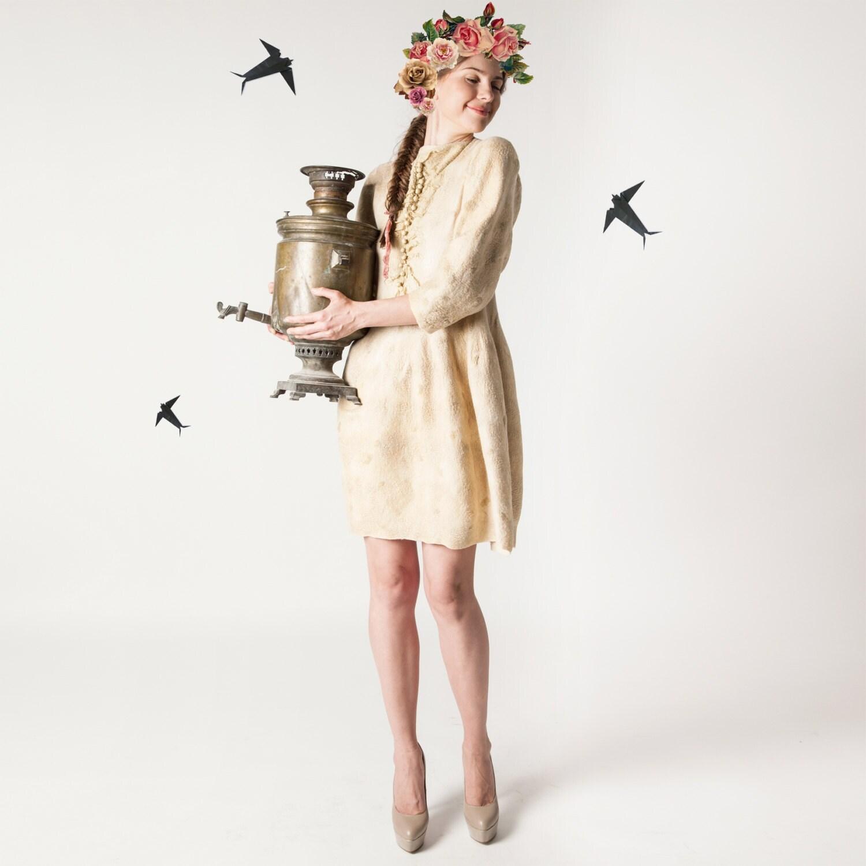 Beige felted dress, nunofelting, fashion dress, custom size, OOAK - Baymut