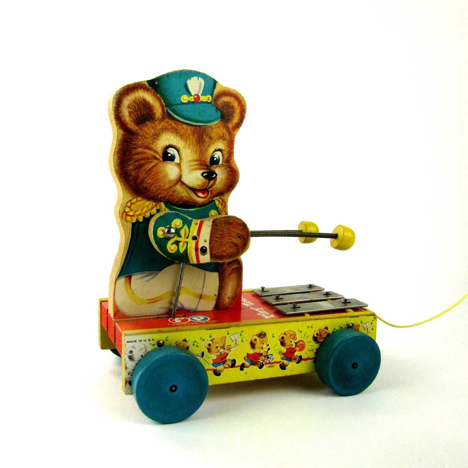 Fisher Price Tiny Teddy Chime Pull Toy 1962 / Excellent Condition - AttysSproutVintage