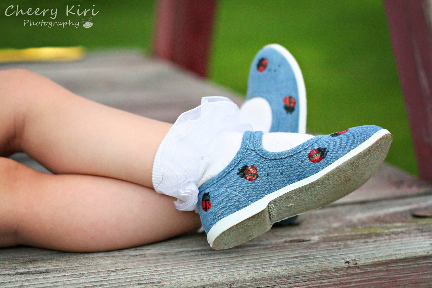 Children's Denim ladybug shoes- Hand painted sparkley red ladybugs on denim maryjane shoes for girls, baby or toddler children's shoes - Snanimals