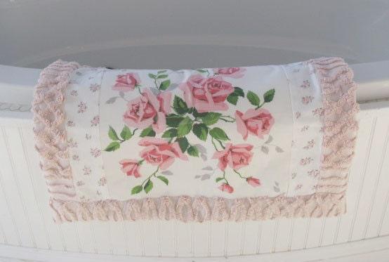 new RUG made of VINTAGE wilendur ROSES bath mat pet quilt handmade rachel ashwell chenille pink