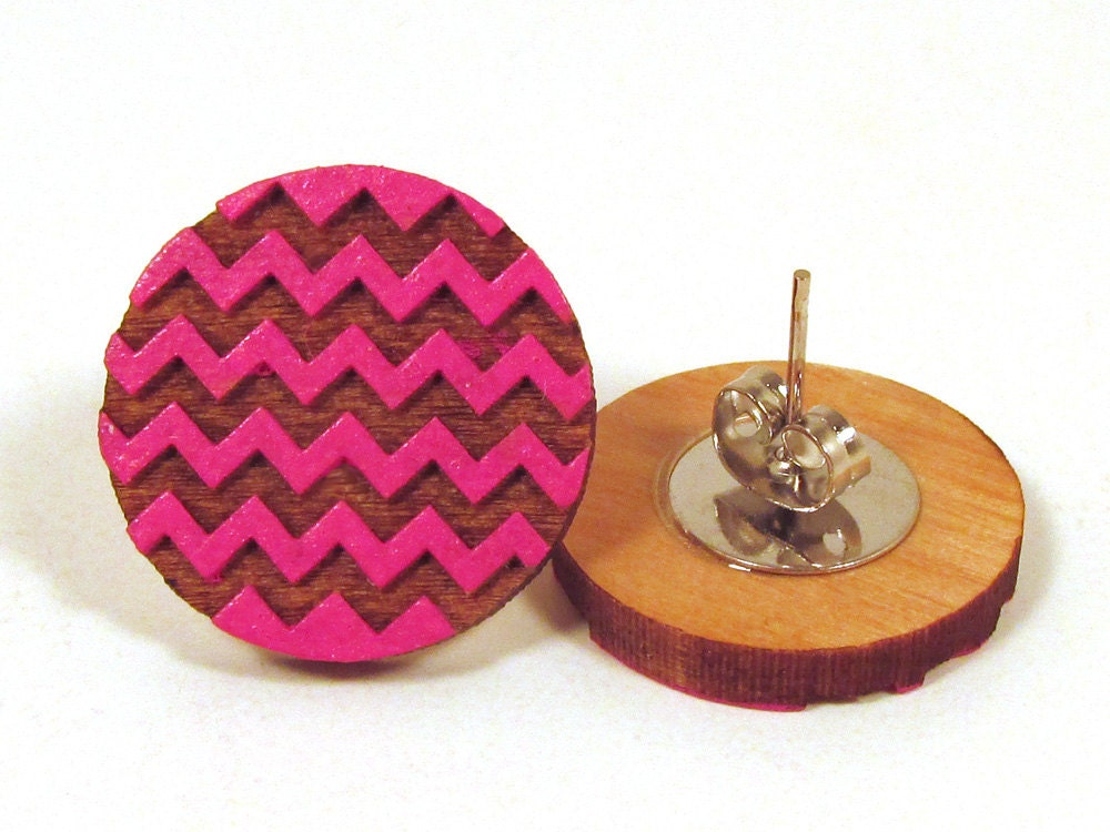 Pink Chevron Wooden Post Earring Studs - memoriesforlifesb