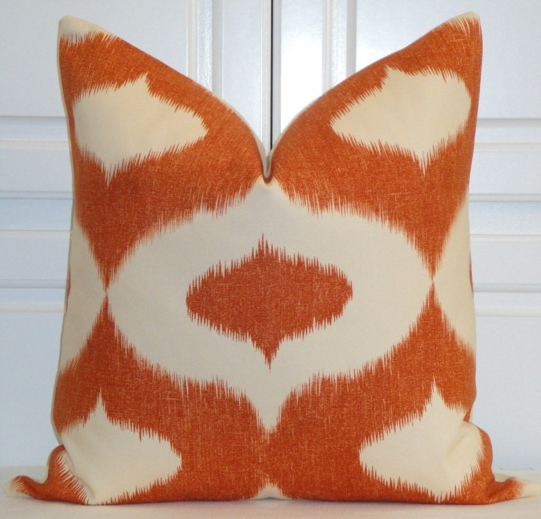 Decorative Pillow Cover - 22x22 - Throw Pillow - Accent Pillow - IKAT - Orange - Clay