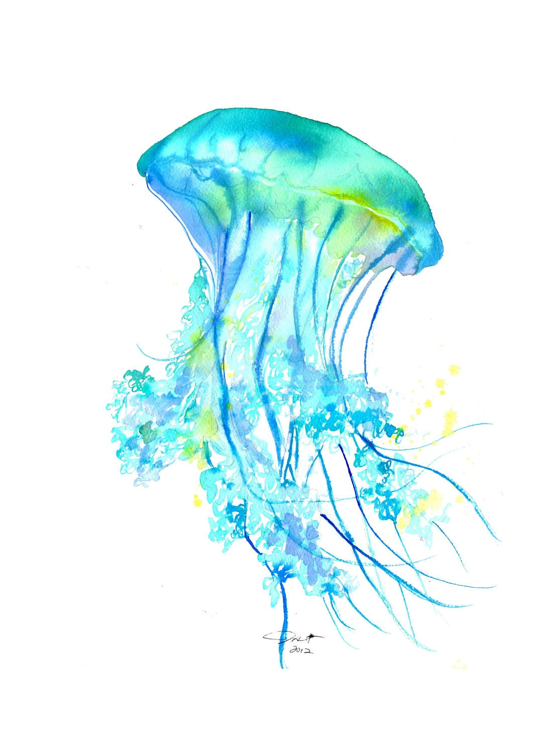 Print from original watercolor study no. 4 of a jellyfish by Jessica Durrant, titled Electric Feel
