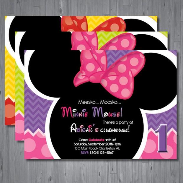 Custom Made Minnie Mouse Invitations for nice invitations design
