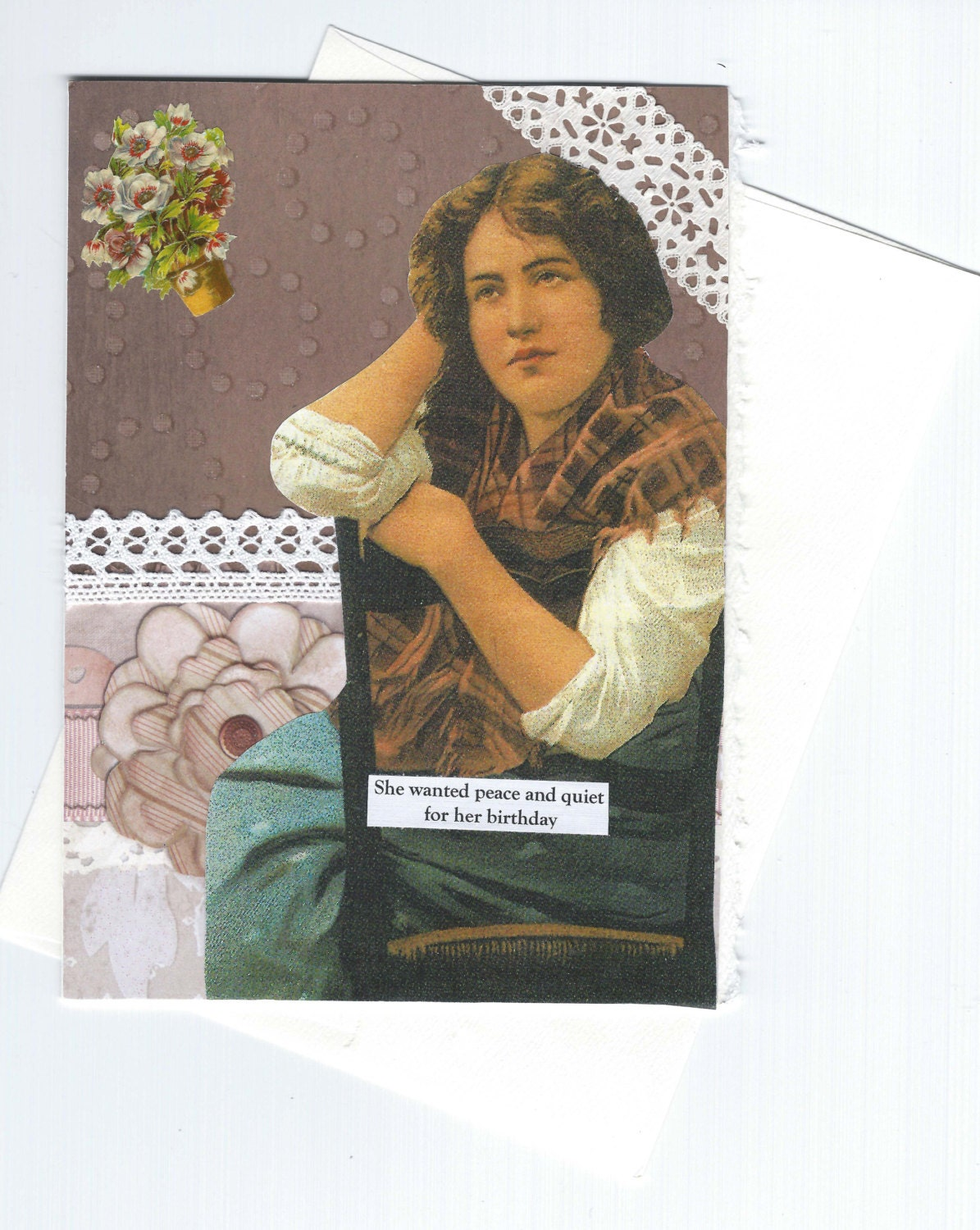 Plaintive Birthday Card With Victorian Woman Mocha Brown and Pink Collage Art - Gimme Some Peace - rhodyart