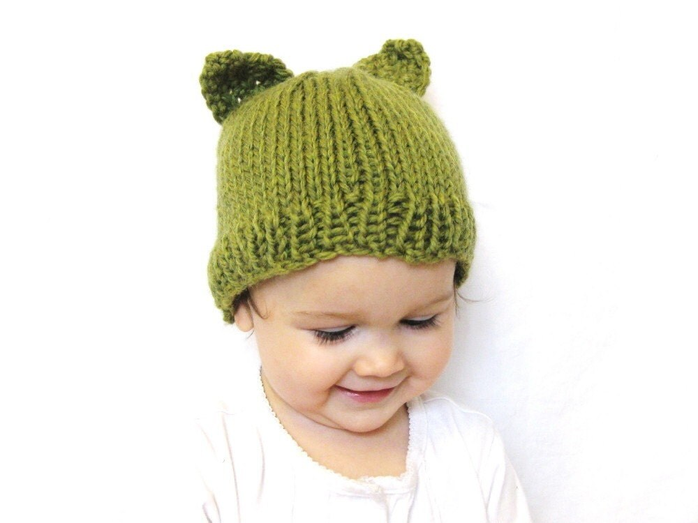 knit hat and photo prop for kids - itty bitty kitty, fern green, toddler size 18 months - 4T, all natural, soft wool, ready to ship - BaruchsLullaby