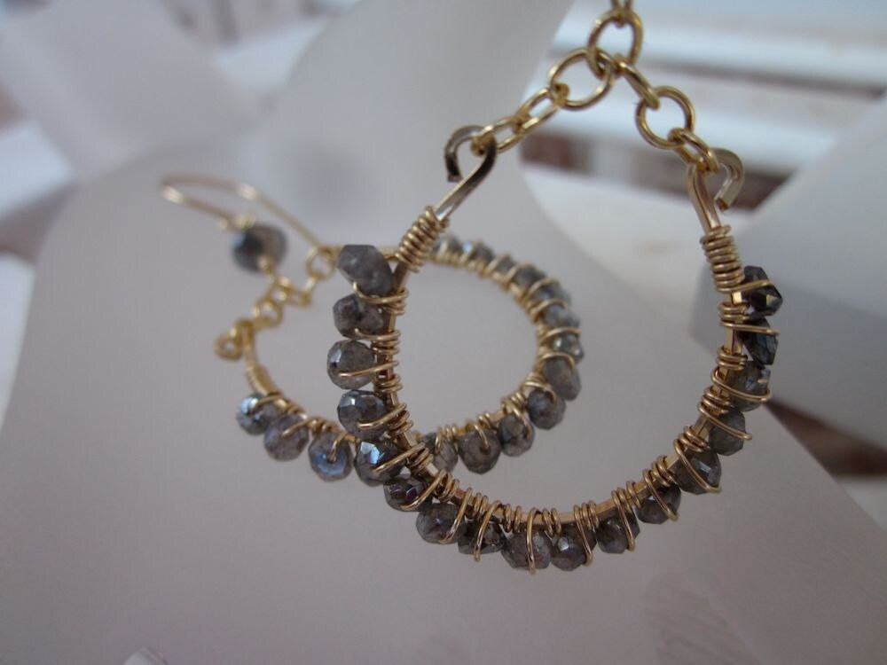 14 Karat Gold Filled, Mystic and Silver Labradorite-Misted Earrings