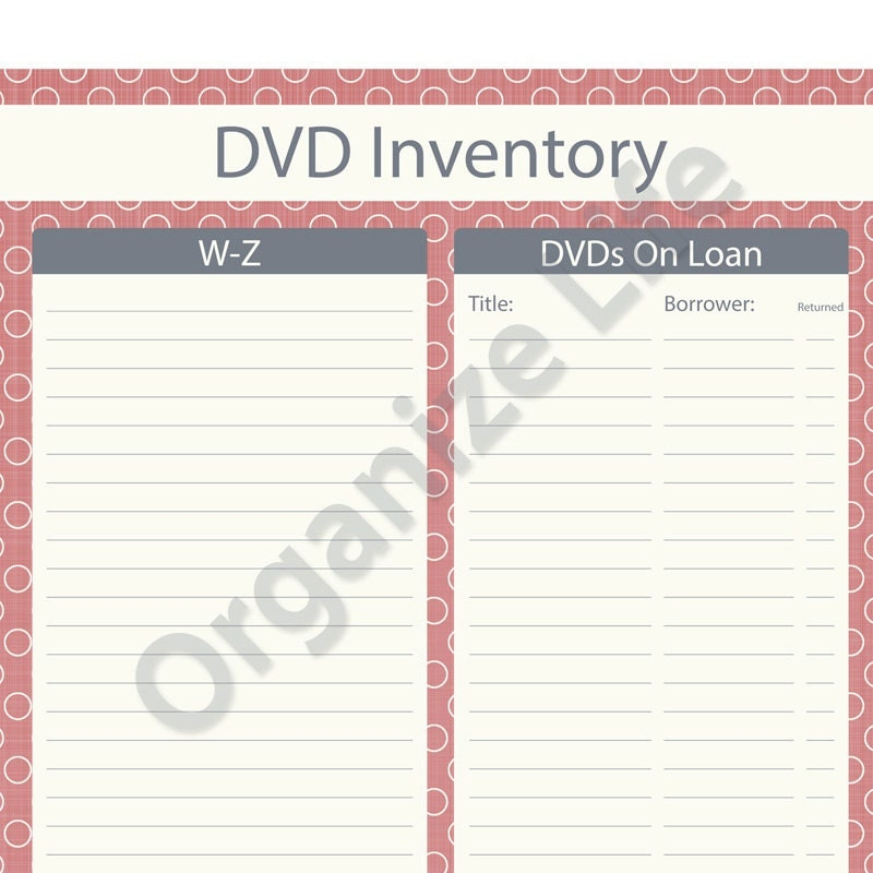Items Similar To Dvd Inventory List Printable Pdf