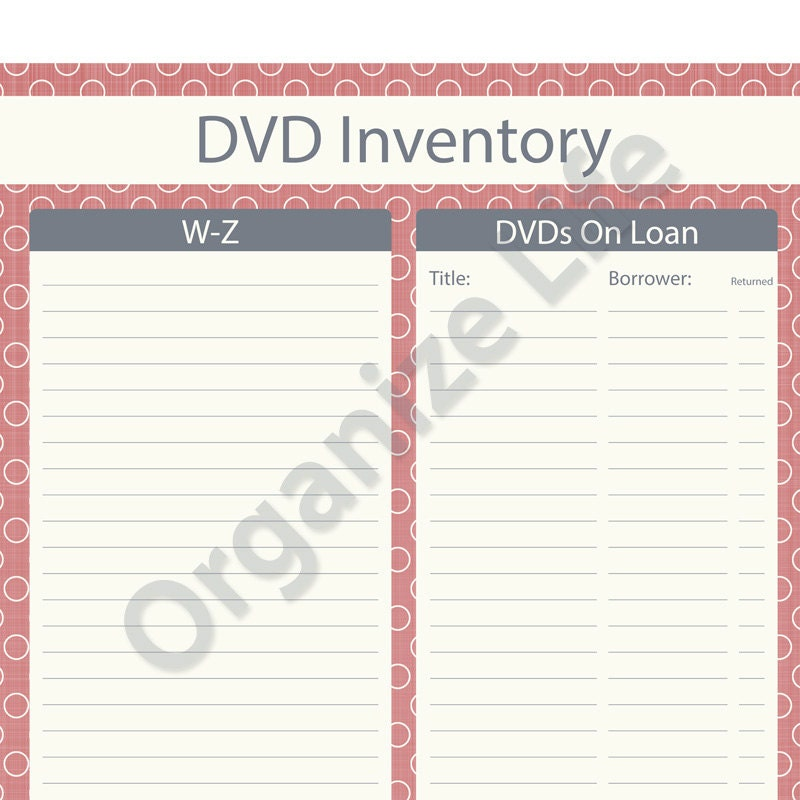 Items Similar To Dvd Inventory List Printable Pdf