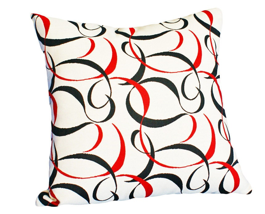 modern decorative throw pillows black red by pillowthrowdecor. Black Bedroom Furniture Sets. Home Design Ideas