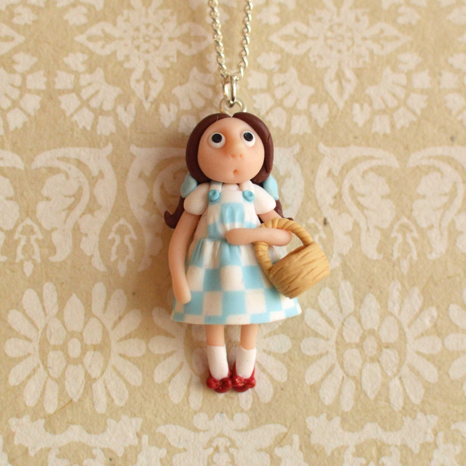 OOAK handsculpted Dorothy (Wizard of Oz)  pendant with chain