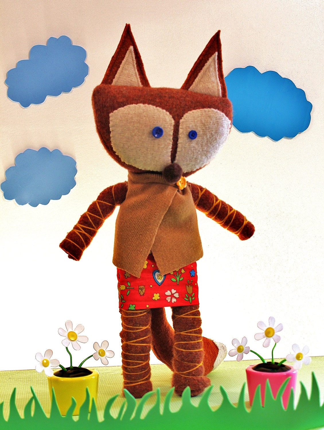 Woodland Nursery Decor, Fox Plush made from Upcycled Sweaters, Eco Friendly Kids Toy - OllieAndRose