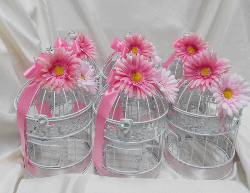 Wedding bridal birdcage card holder bird cage centerpieces your colors