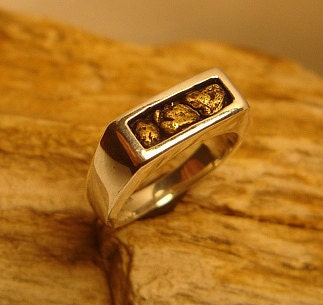 mens gold nugget wedding ring in sterling silver