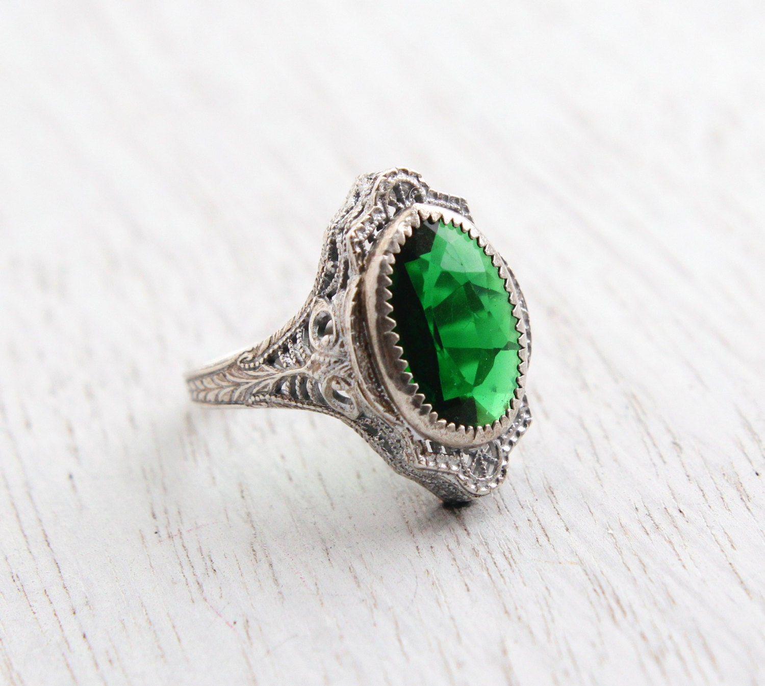 Antique Genuine Art Deco Emerald Green Ring By Maejeanvintage