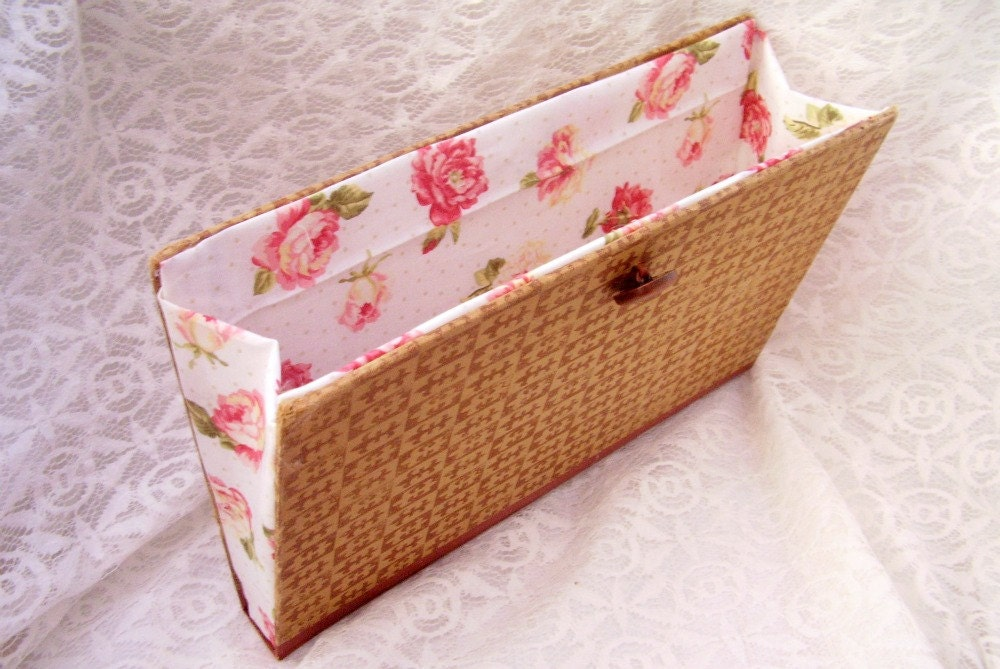 Vintage Book Clutch, French Design, brown and beige, floral