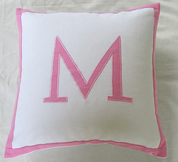 Monogram Throw Pillow Etsy : Monogrammed throw pillows 18 inch white and by Comfyheavenpillows
