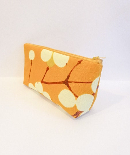 Medium Zipper Pouch  Marimekko Berries in Pumpkin - handjstarcreations
