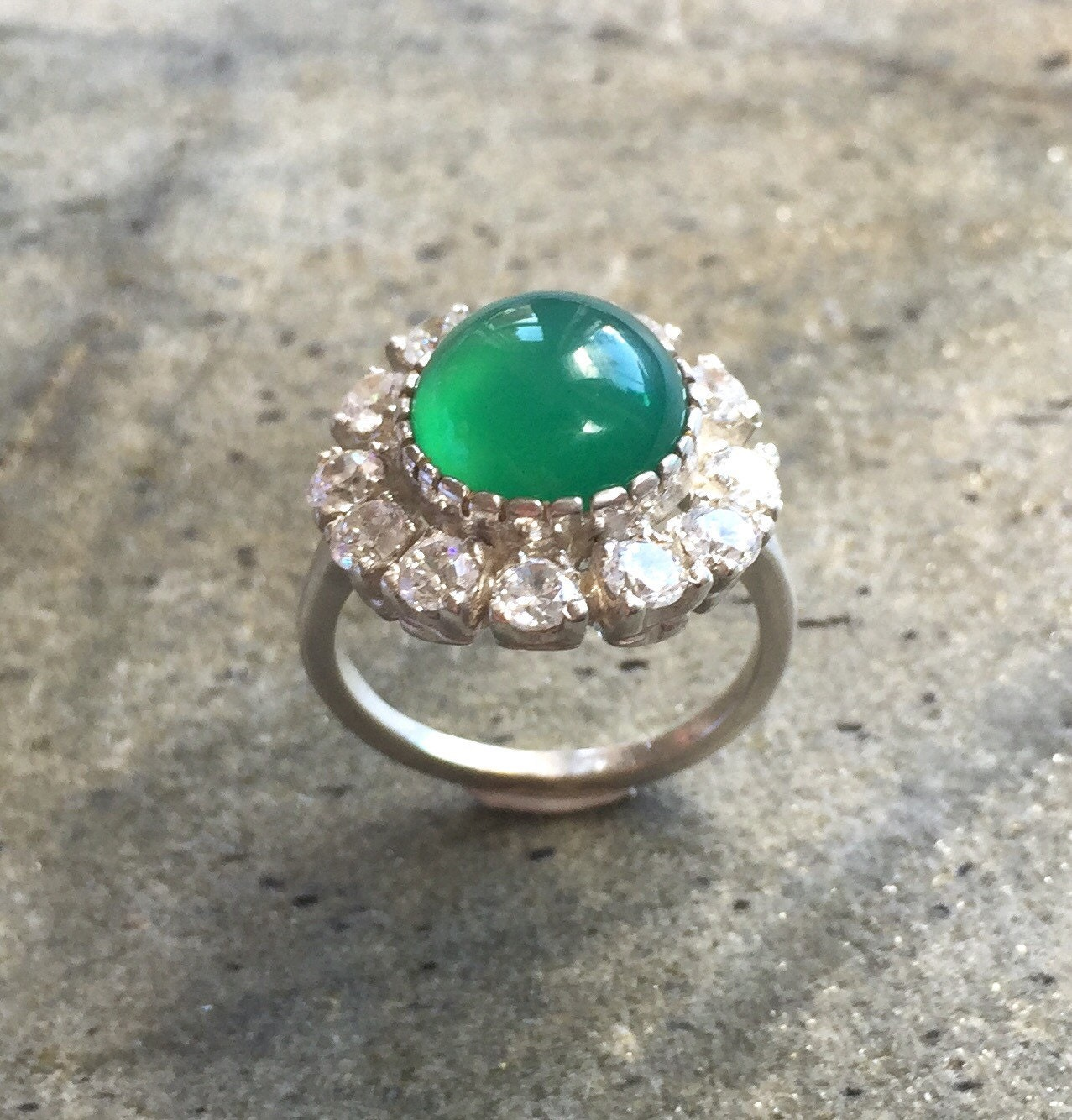 Emerald Ring Antique Ring Vintage Ring Antique Emerald Ring Antique Rings Sterling Silver Ring Green Vintage Ring