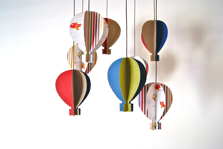 Boys 3d 39 Colourful Aeroplane Paper 39 Hot Air Balloon By