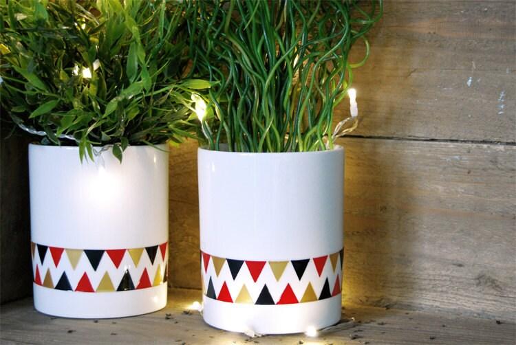 """Vase """"Fanions"""" Or, Noir et Rouge"""
